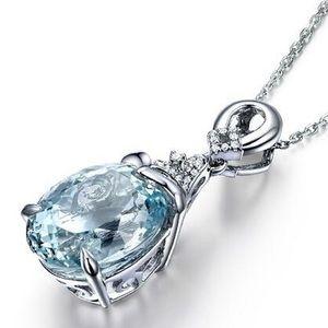 Aquamarine and Crystal Pendant necklace.